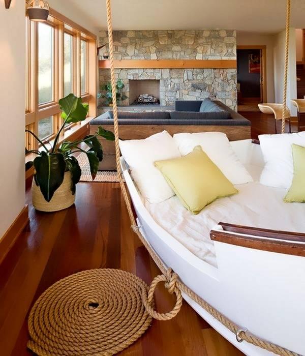 Кровать-корабль в дизайне спальни