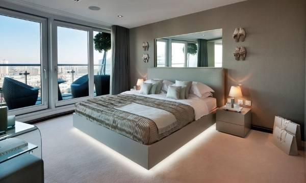 Дизайн спальни с кроватью с Led подсветкой