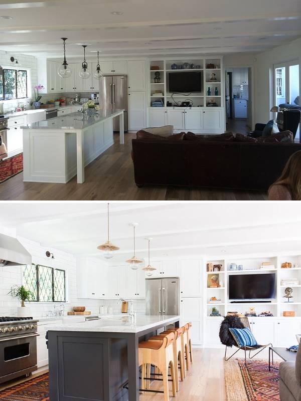Кухня и гостиная внутри частного дома