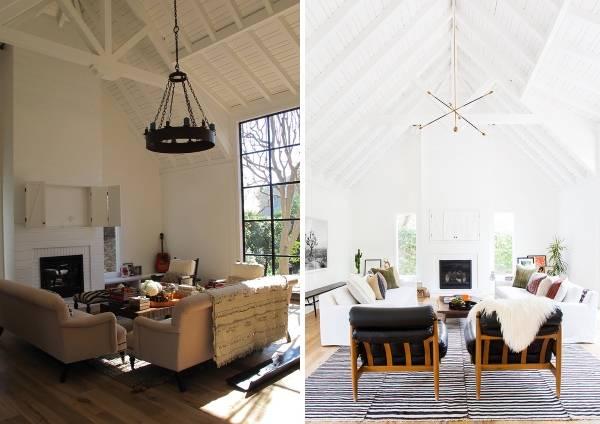 Новый дизайн интерьера частного дома: гостиная до и после