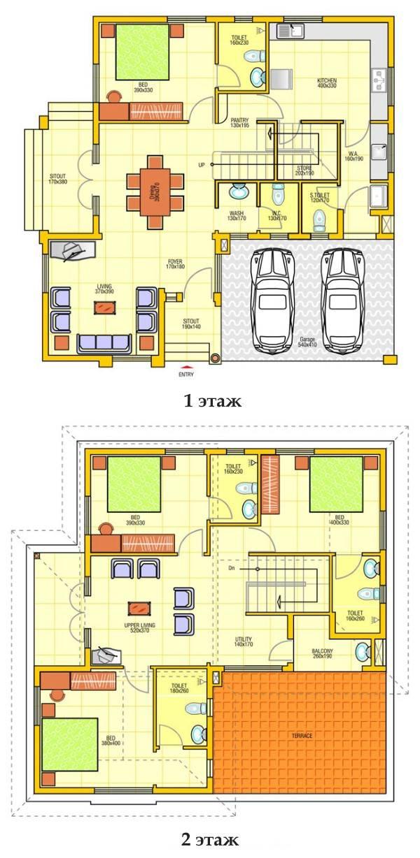 План двухэтажного частного дома с гаражом