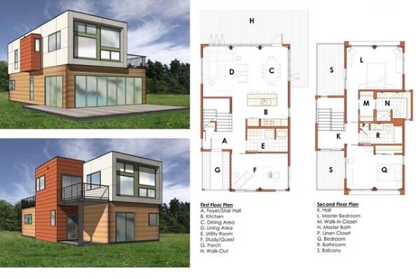 Дизайн двухэтажного частного дома с чертежами комнат