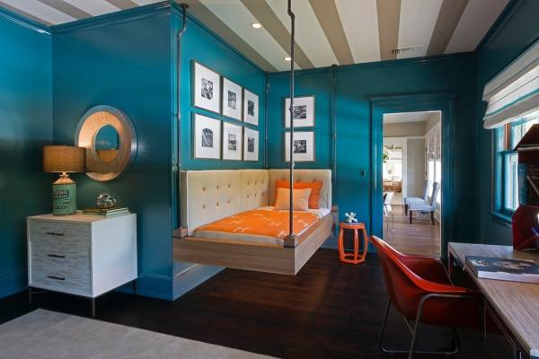 Дизайн детской комнаты с подвесной кроватью