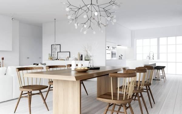 Потолочный светильник в дизайне кухни