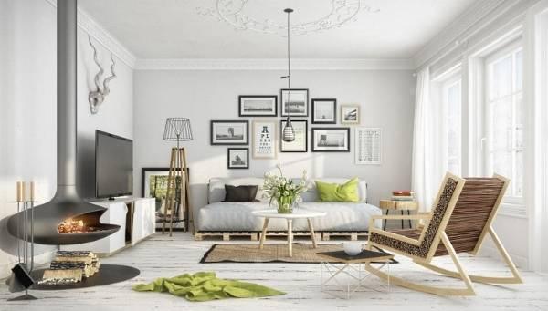 Дизайн гостиной частного дома в скандинавском стиле