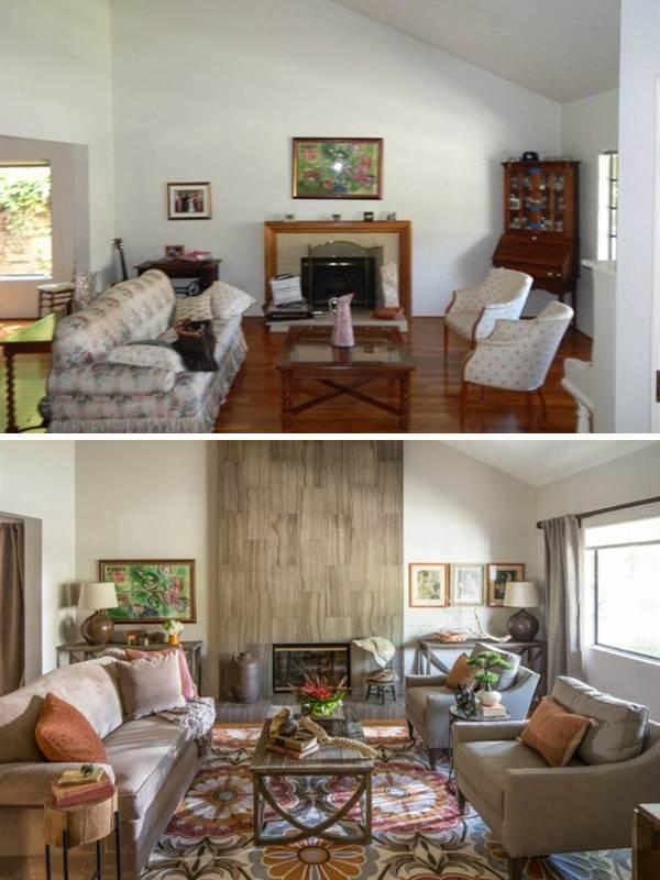Уютная гостиная с камином дизайн интерьера фото до и после