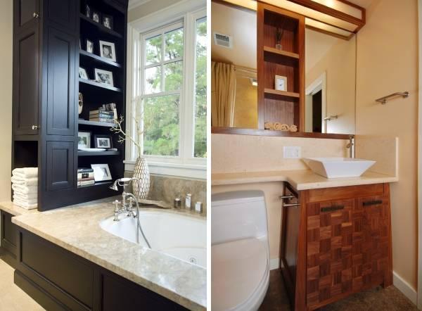 Современная встроенная мебель в дизайне ванной