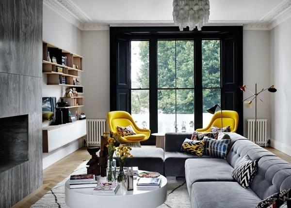 Современный дизайн гостиной в частном доме
