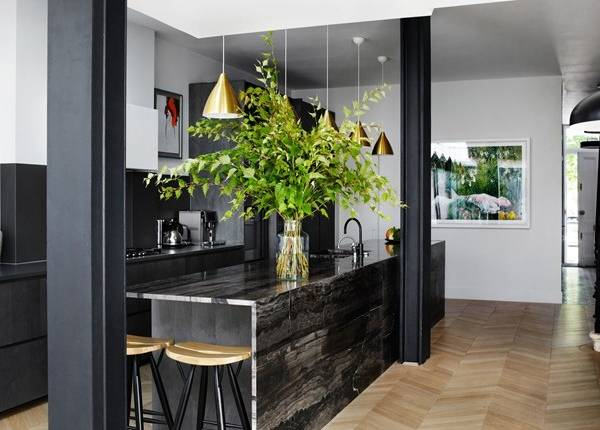 Стильная кухня частного дома в темных тонах