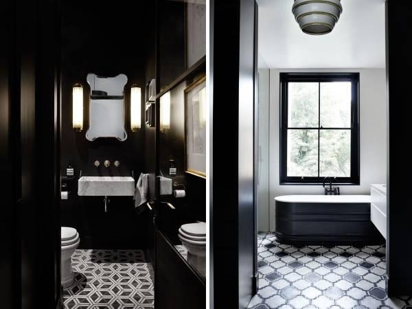 Стильный дизайн ванной и туалета в черном цвете