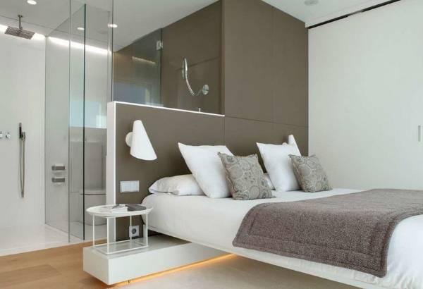 Дизайн спальни с ванной и туалетом