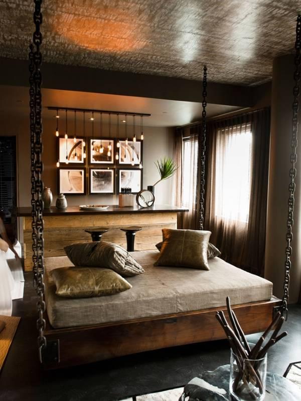 Дизайн спальни в стиле индастриал