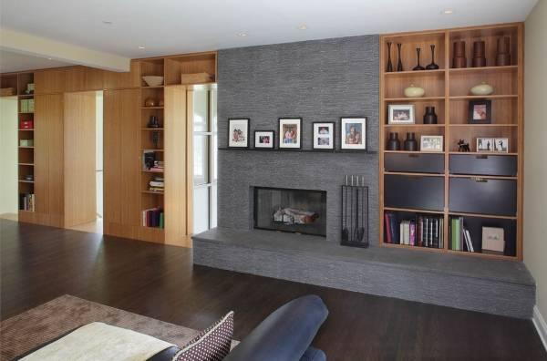 Встроенные шкафы в дизайне гостиной частного дома