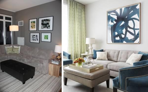Стильный дизайн частного дома внутри: гостиная до и после