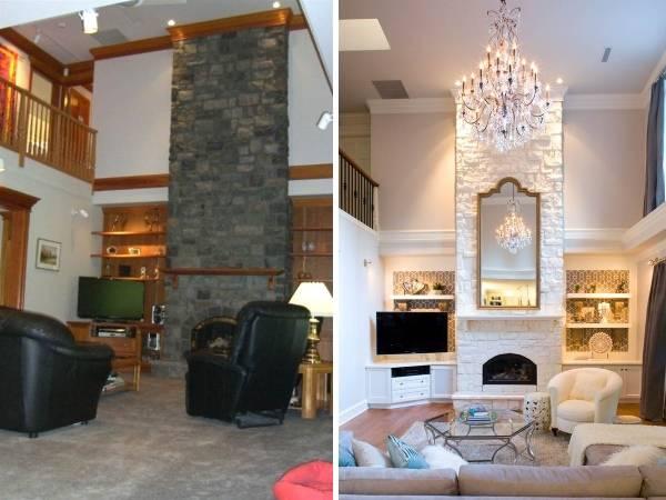 Стильный дизайн гостиной с высокими потолками до и после