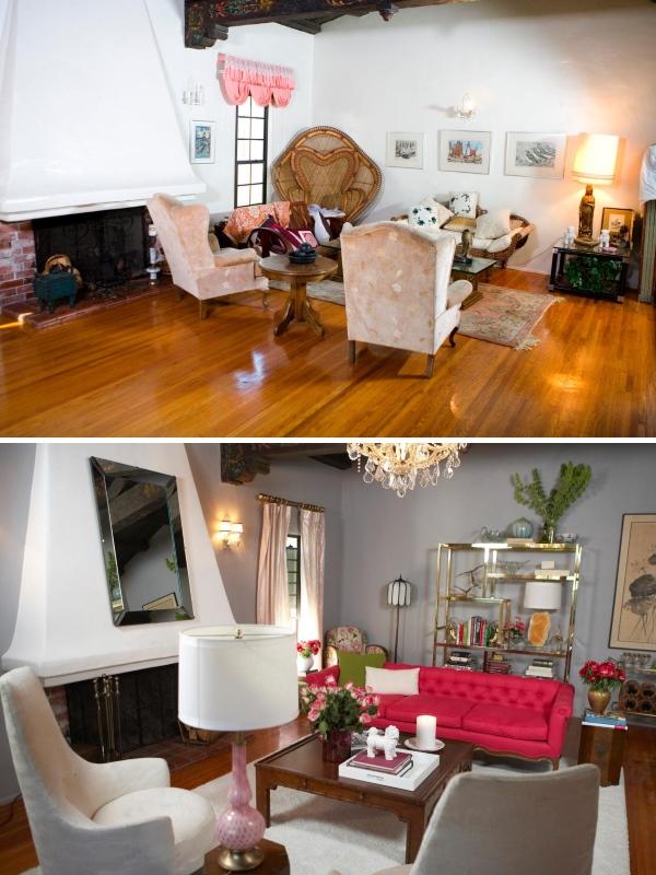 Гламурный дизайн гостиной в частном доме в сером цвете