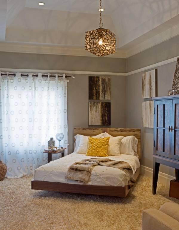 Уютный дизайн спальни с деревенскими мотивами