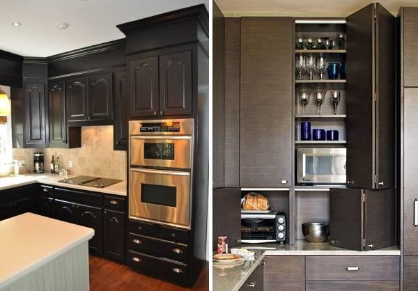 Красивые встроенные шкафы в дизайне кухни