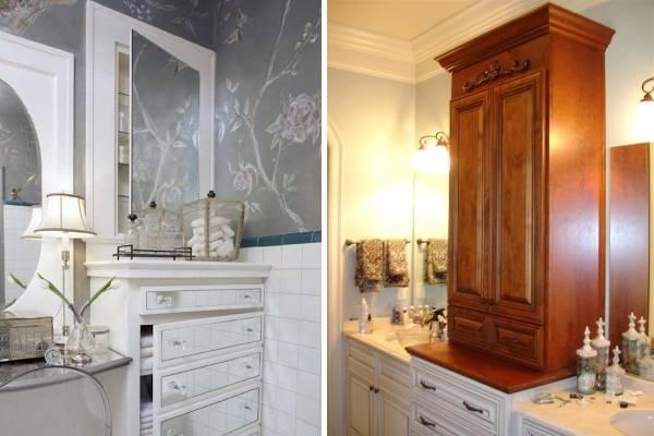 Красивые встроенные шкафчики для ванной комнаты