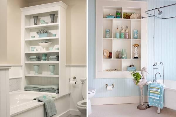 Встроенные полки в дизайне ванной