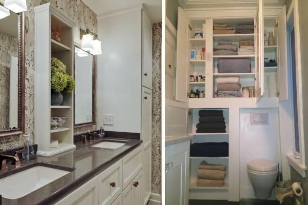 Встраиваемые шкафы в дизайне санузла
