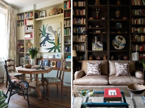 Полки с книгами и декором в дизайне гостиной