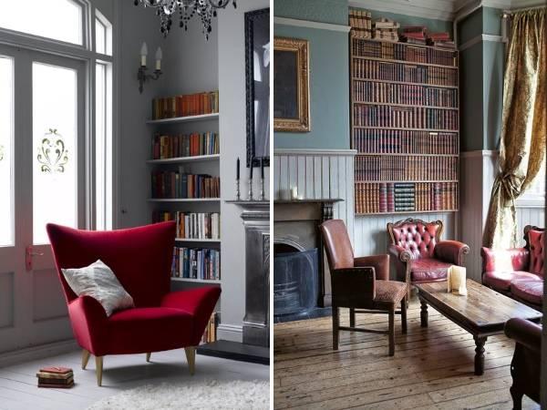 Полки книг в дизайне интерьера