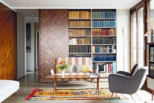 Шкафы купе - книжный шкаф в гостиной