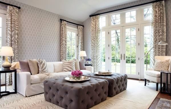 Элегантная современная гостиная в серых тонах