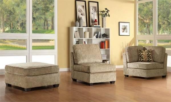 Модульный угловой диван из трех частей - угловое кресло, кресло и пуф