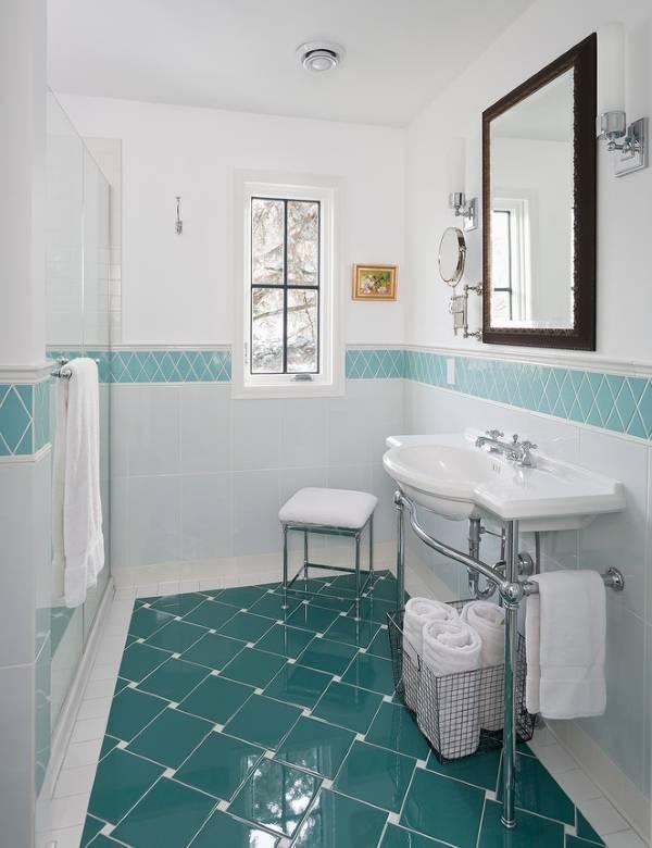 Нестандартная укладка плитки в ванной