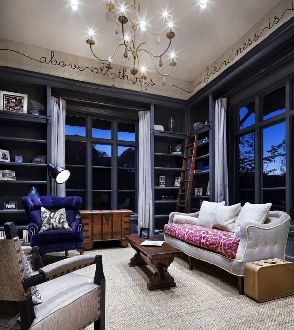 Простой широкий бордюр для обоев - фото дизайна гостиной