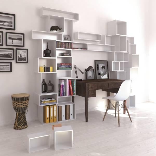 Модные геометрические полки для книг и декора