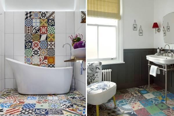 Ванная комната дизайн фото модная плитка 2015 пэчворк