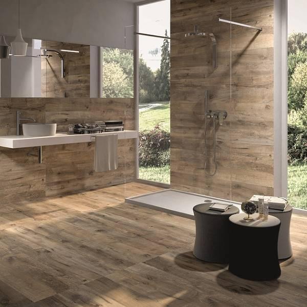 Деревянная плитка для ванной фото