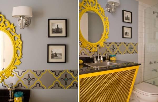 Декоративный бордюр для обоев в дизайне ванной комнаты