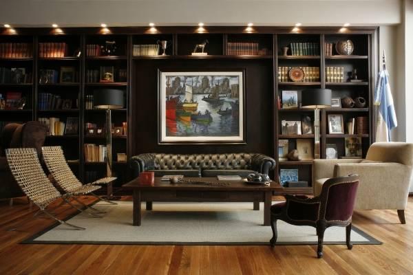 Библиотека в современном дизайне гостиной