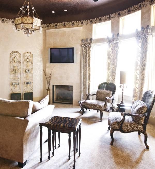 Шикарная окантовка для обоев в гостиной