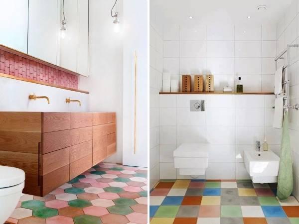 Яркая плитка для пола в ванной комнате