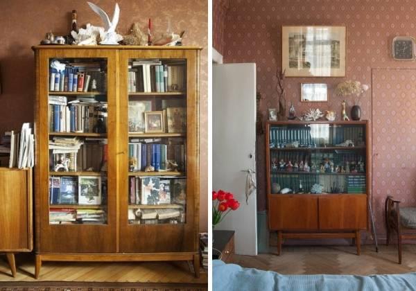 Советская мебель - книжные шкафы и полки в интерьере