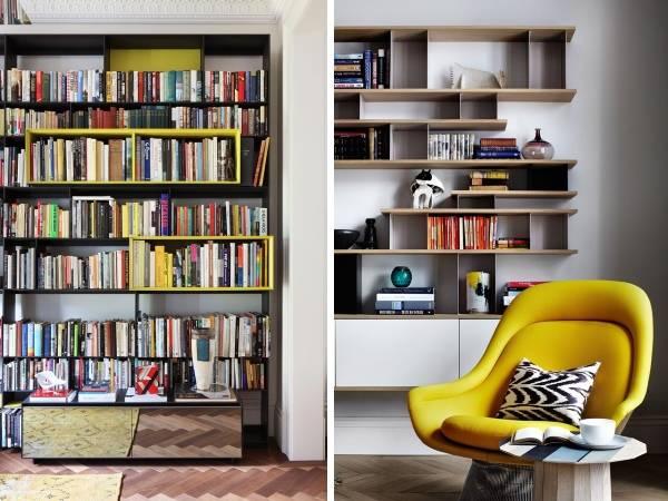 Современные книжные полки для гостиной