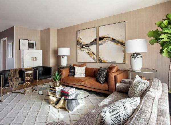 Современный стиль в интерьере гостиной на фото