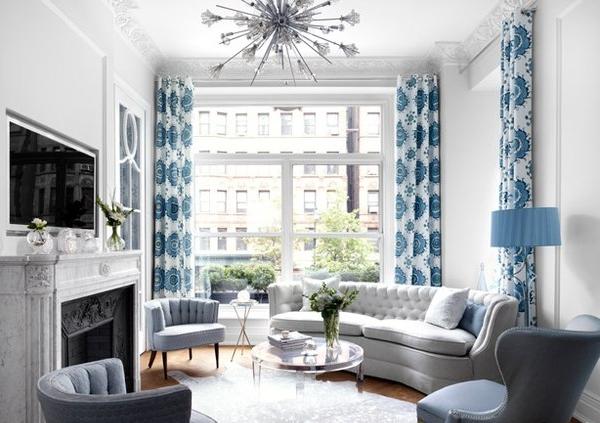 Фото гостиной в современном стиле в синем и сером цвете