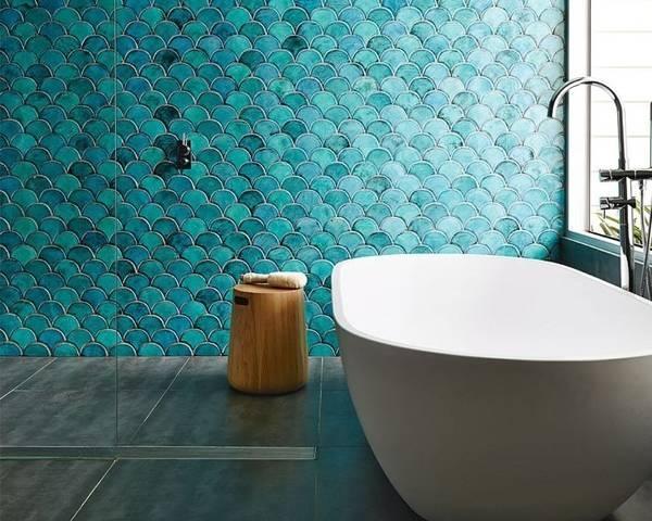 Синяя, голубая, бирюзовая плитка для ванной