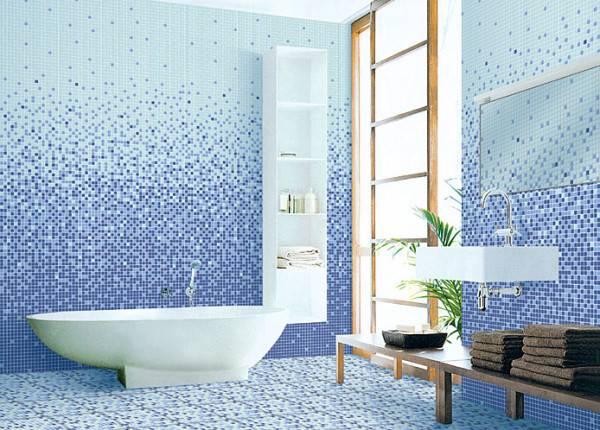 """Отделка ванной плиткой фото дизайн """"Омбре"""""""