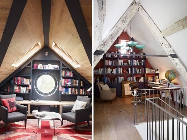 Встроенные книжные шкафы на чердаке