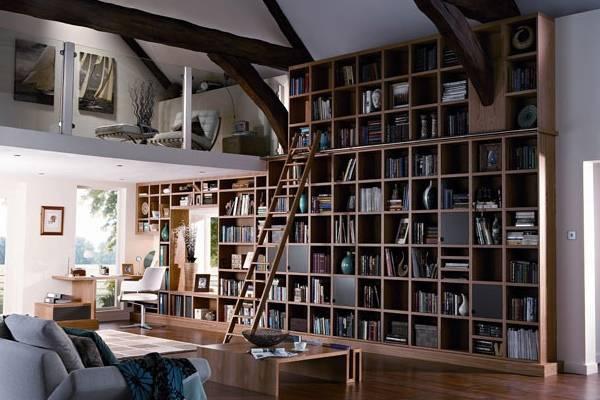 Современный книжный шкаф - библиотека