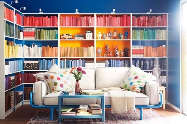 Яркий книжный шкаф