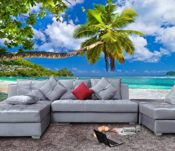 Пальмы, океан - фотообои 3д в гостиной