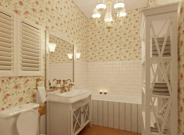 Светлая ванная комната в стиле прованс